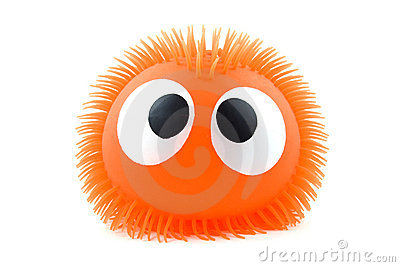 Funny orange face isolated on white background