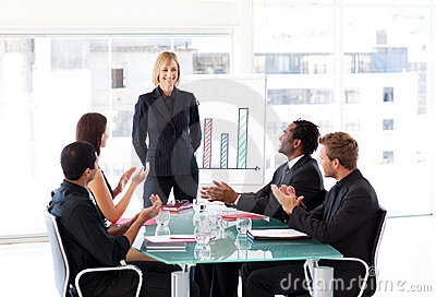 Manager having success in a meeting