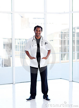 Afro-American smiling doctor isolated