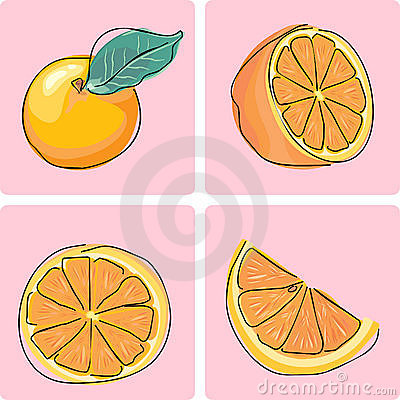 Icon set - orange fruit