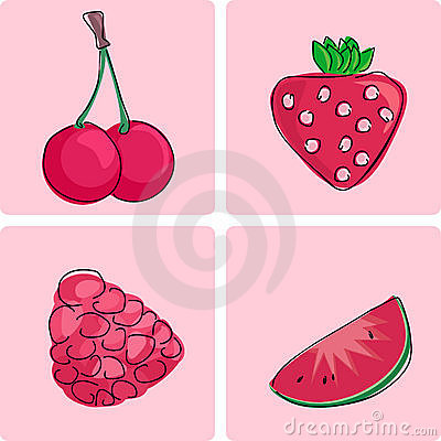 Icon set - red fruits