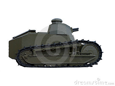 Isolated old tank with clipping path