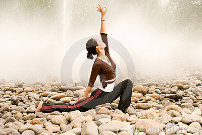 A asian girl doing yoga