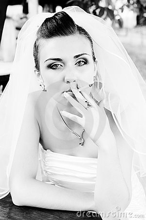 Bride smoking a cigarette