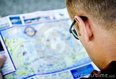 Man studying a map.
