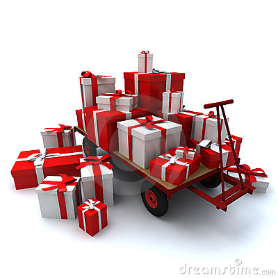 Pallet truck loaded with presents