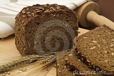 Whole grain bread still-life