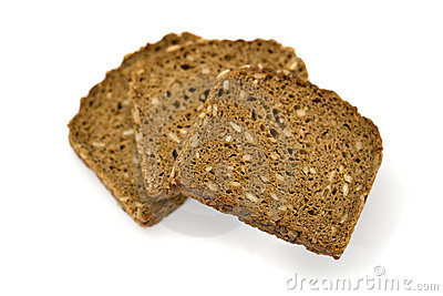 Three slices of whole grain bread