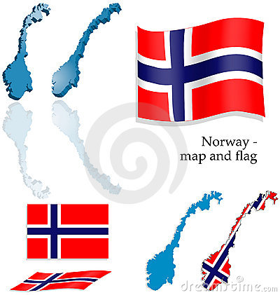 Norway - map and flag set