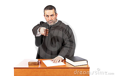 Judge reading a sentence