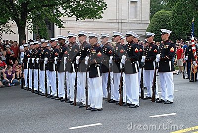 Military men in  Independence Day parade