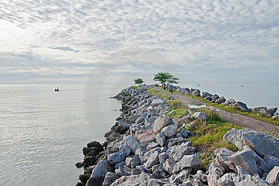 Stone jetty at Cha Am, Thailand
