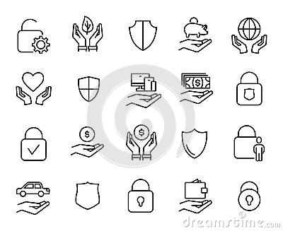 Premium set of safeguard line icons.