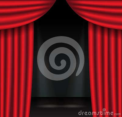 Red theater curtains with spotlight. Open velvet drapes