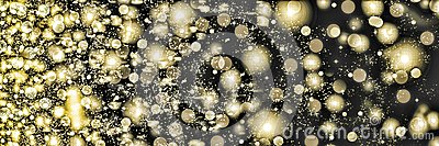 Golden snowflakes swirling on a black background. Falling snow at night. New Year, Christmas.