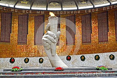 VOLGOGRAD, RUSSIA. An eternal flame in the Hall of Military glory. Mamayev Kurgan
