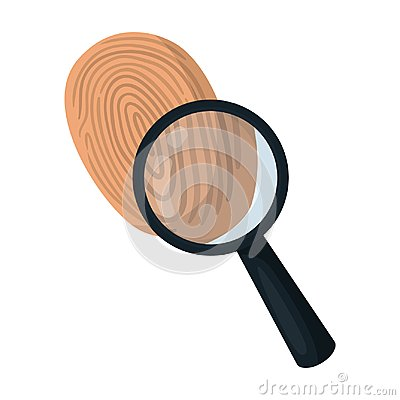 Investigation by fingerprint magnifier, crime. Loupe is a detective tool, single icon in cartoon style vector symbol