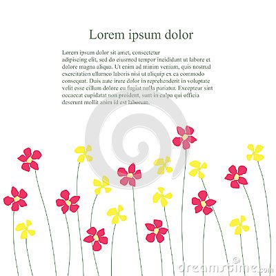 Background with red and yellow flowers billow on white, Lorem ipsum