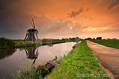 Sunset windmill landscape