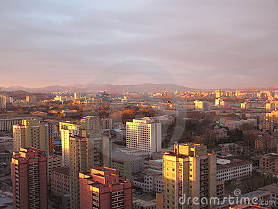 Pyongyang,the sundown in North Korea