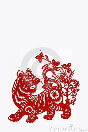 Tiger,paper cutting Chinese Zodiac.