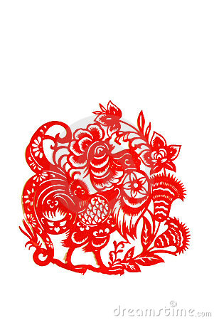 Rooster, paper cutting Chinese Zodiac.