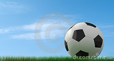 Classic soccer-ball on grass