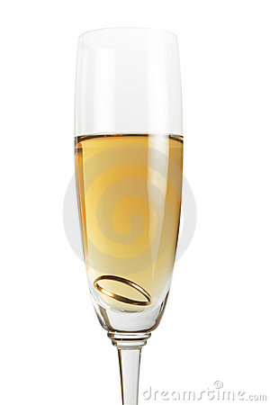 Gold ring in wineglass