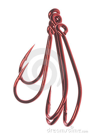Red Fish Hooks Macro Isolated