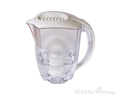 Clear water filter pitcher with clipping path