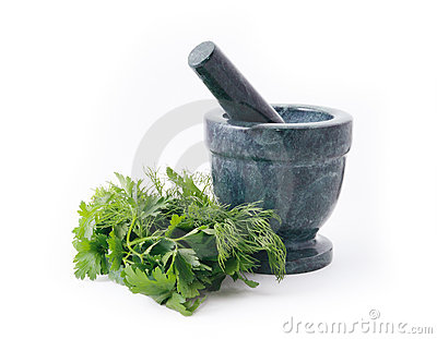 Marble mortar and parsley
