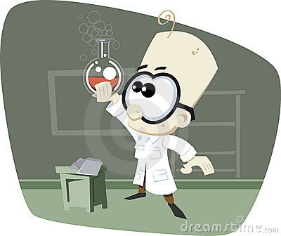 Retro Cartoon Science Professor with glass bowl