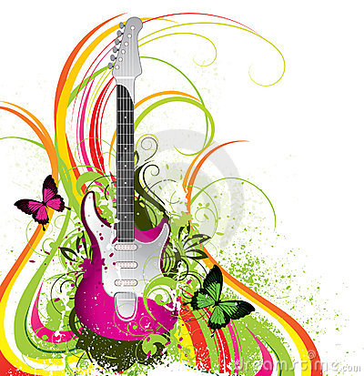 Abstract colorful guitar