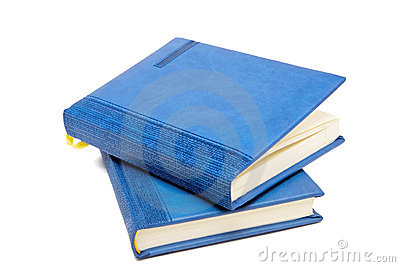 Blue diary on top of anther one