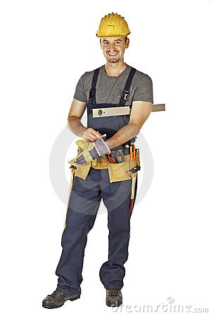 Handyman wearing gloves