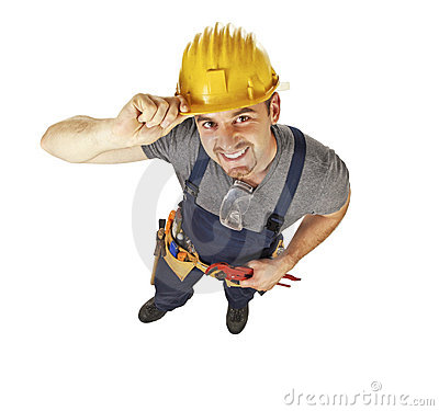 Smiling manual worker on white