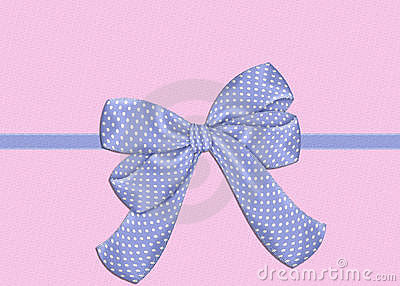 Blue Bow on Pink Background