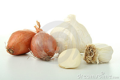 Group of garlic and onion