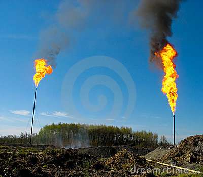 Two large oil flares