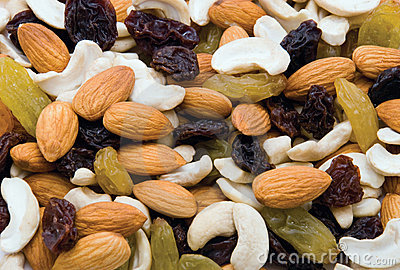 Mix of nuts and raisins