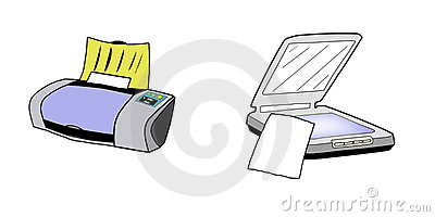 Printer and Scanner illustration, isolated