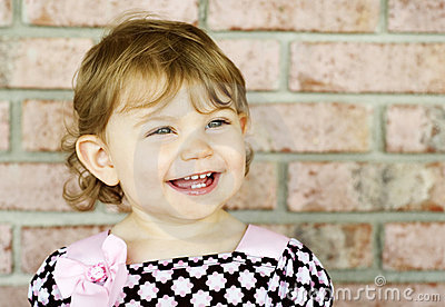 Adorable Little Girl Big Smile Bright Eyes