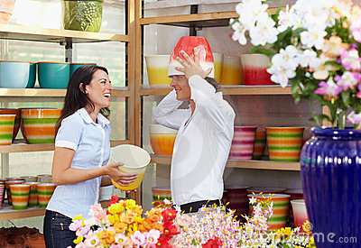 Couple in flower shop
