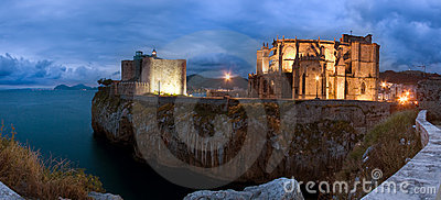 Panoramic of Castro Urdiales at dusk