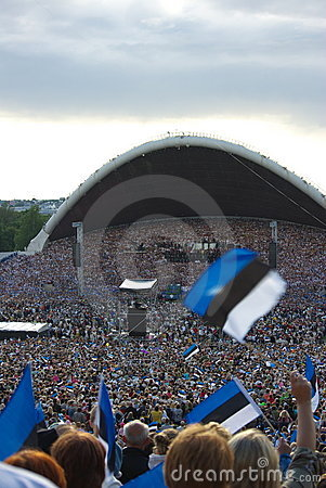 Estonian flags and crowd in Song Festival
