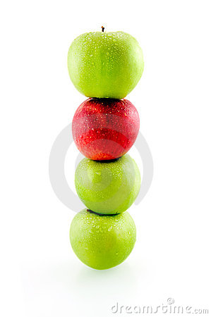 Stack of green and red apples
