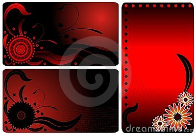 Red flower business cards