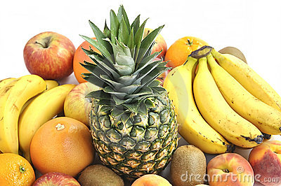 Fresh fruit's on white background. Diet concept.