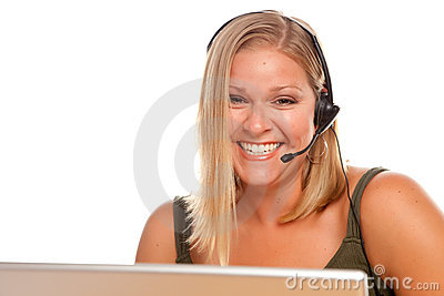 Attractive Customer Support Woman Smiles