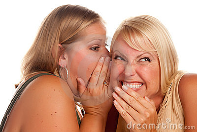 Two Blonde Woman Whispering Secrets